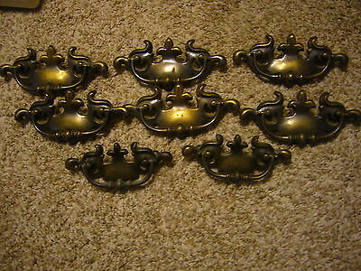 Vintage Set Of 8 Early American Solid Brass Drawer Pulls