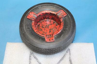 Vintage FIRESTONE 6 inch Miniature Truck Tire Ashtray RUBBER TIRE MARBLE INSERT