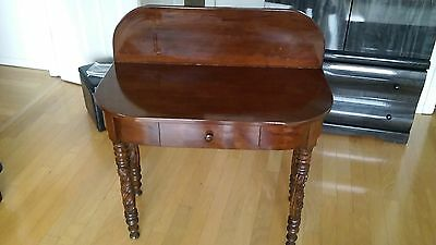 ANTIQUE MAHOGANY TABLE WITH CARVED LEGS & DRAWER CIRCA 1890s