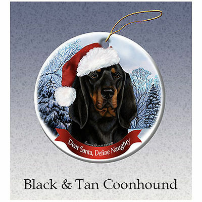 Coonhound Black and Tan Howliday Porcelain China Dog Christmas Ornament