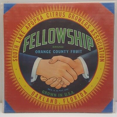 Vintage Fruit Label Fellowship Brand Orange County Fruit Oakland FL Lithograph