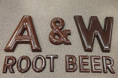 Vintage large A&W ROOT BEER plastic restaurant drive-in outside building letters