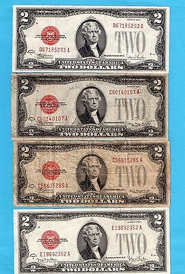 **  [[  4  ]] 1928 Series $2.00  Red Seal  ***