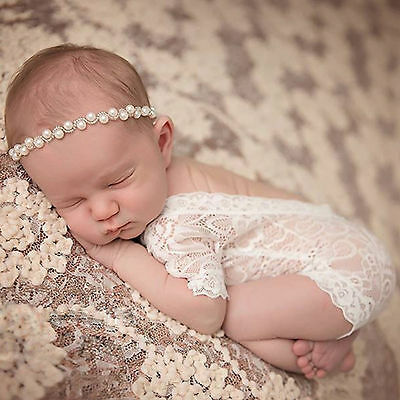 Newborn Baby Girl Lace Floral Romper Bodysuit Photo Props Photography Costume