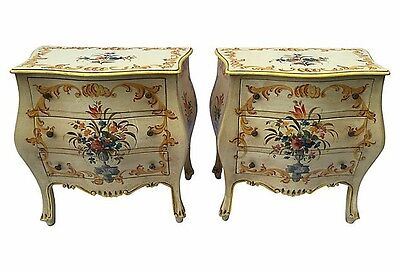 Venetian Bombe Chest, French Provincial-Style, Italian Bombe Hand Painted, Pair