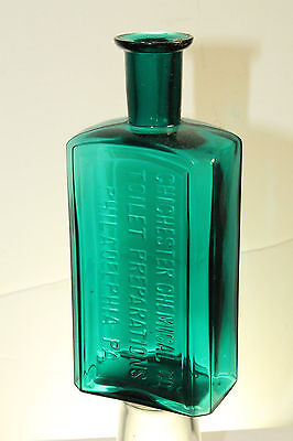 Teal Blue Green Philadelphia Pa Chichester Chemical Toilet Preparations Bottle
