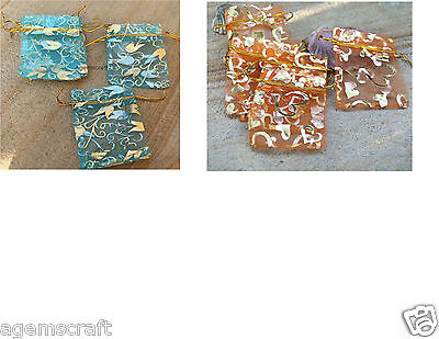 10 Organza Drawstring wedding Gift bag pouch 9x7cm,Gold Tulips or Gold heart New