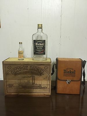 Vintage George Dickel Whiskey Wooden Box Sign With Utility Case & Bottles