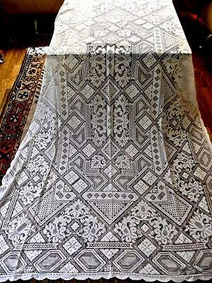 Antique Italian Chic Hand Net Darned Needle Filet Lace 60x92 Banquet Tablecloth