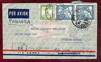 CHILE STAMPS- Fokker aeroplane 10c,2p, airmail to Argentina, 1938