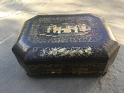 Antique Chinese 19th Century Export Sewing Box Gilt Decoration