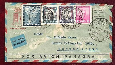 CHILE STAMPS- Mixed stamps, airmail to Argentina, 1936