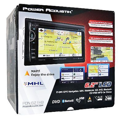 "Power Acoustik Double Din GPS CD DVD Navigation 6.2"" Bluetooth PDN-621HB"