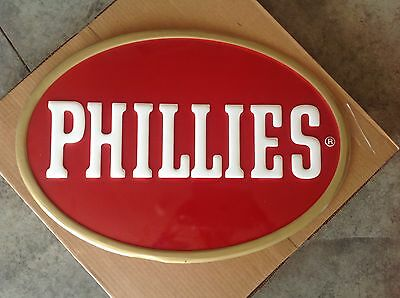"Vintage Phillies Cigars Tobacco Gas Station 27"" Embossed Metal Advertising Sign"