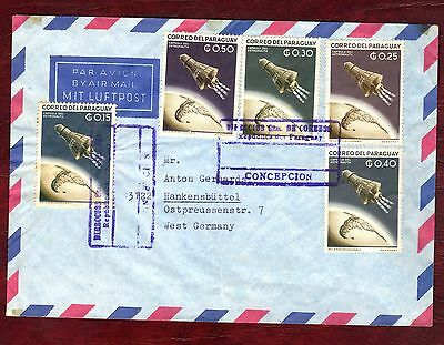 PARAGUAY STAMPS- US manned space flights  15c-50c, airmail cover to Germany,1962