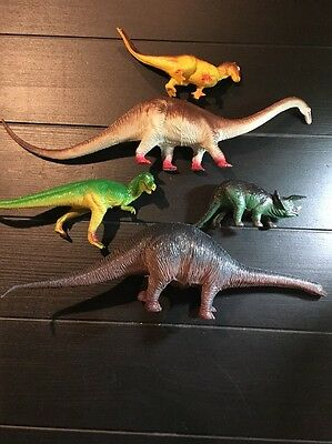 Lot of (5) Vintage Plastic Dinosaurs Made By Larami, Preowned