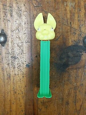 Vintage Fat Ear Yellow Bunny Rabbit Pez Dispenser Yugoslavia retired green body