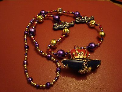 Crown Royal Mardi Gras beads necklace plastic purple New Orleans Parade Party