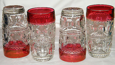 4 ~Tiffin-Franciscan~ KING'S CROWN Thumbprint RUBY FLASHED TOP TUMBLERS 1950-62