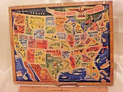 "Vintage Toy ""united States Inlay Puzzle,"" 48 States, Multi-Colored, Ca.1940-1950"