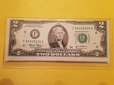2003 $2 Dollar Federal Reserve Note error. Miscut / Alignment Error. Nice Note !