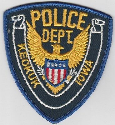 vintage Keokuk, Iowa Police Dept patch  IA  cheesecloth back  old style