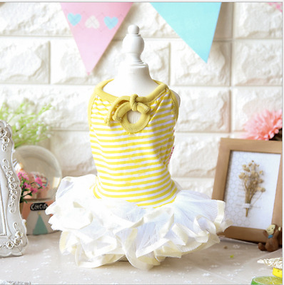 Summer Princess Lace Dog Dress Clothing For Dogs Pet Puppy Dog Clothes Yellow S