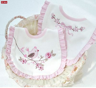 4PCSBaby Girls Pink Embroidered Bibs with Snaps Saliva Towel Bibs Feeding Saliva