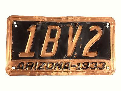 1933 Arizona Copper License Plate 1BV2 Maricopa County Antique