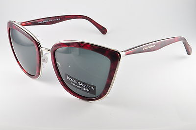 3f04ad98459c Dolce   Gabbana DG 2113 114887 Silver Gauze Red Womens Cat Eye Sunglasses