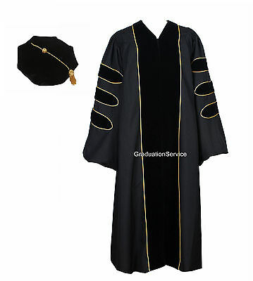 Unisex Deluxe Doctoral Graduation Gown With Gold Piping and Doctoral Tam Package