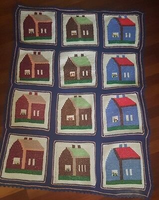 Vintage Hand Made Crochet Granny Square Afghan Blanket with Houses 44 x 56