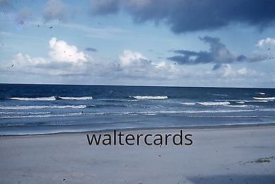 KODACHROME Red Border 35mm Slide 1950s Daytona Beach ? Florida Waves Clouds