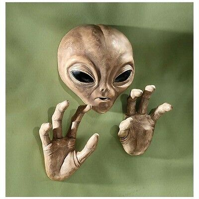 UFO Extra-Terrestrial Alien Visitor Head and Hands Otherworldly Wall Sculpture
