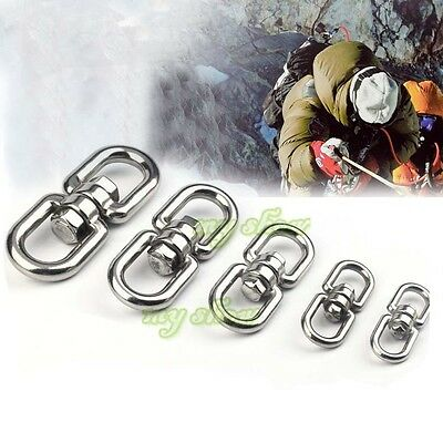 5/10pcs Stainless Steel Swivel Buckle Outdoor Climbing Hiking Carabiner Survival