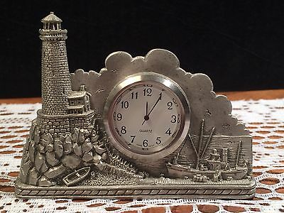 SKYTECH PEWTER CLOCK. LIGHTHOUSE SCENE. Art By Norman Fortin