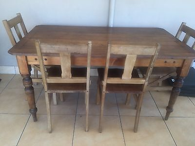 antique Pine Table And 6 Chairs