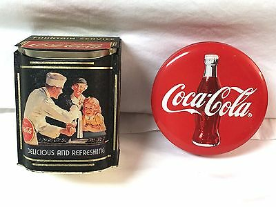 COCA-COLA TINS Lot of 2, Hinged (1994) & Round 2pc (1996) In Great Condition