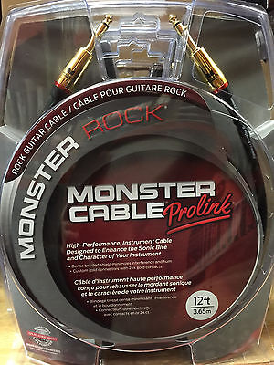 """Monster M-Rock2 12 Foot Straight 1/4"""" Guitar Instrument Cable Cord Rock 2"""