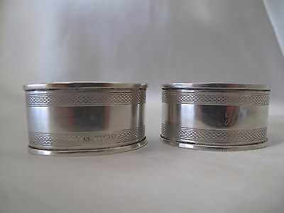 Antique Pair Of Sheffield Sterling Silver Napkin Rings C.1915