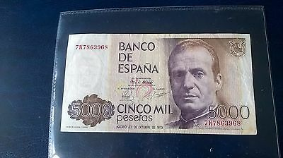 "1 X 5,000 Pes Spanish Banknote in F/V condition ""High cat value"""
