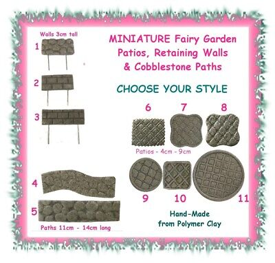 Fairy garden retaining wall / patio / cobblestone path - CHOOSE YOUR STYLE- clay