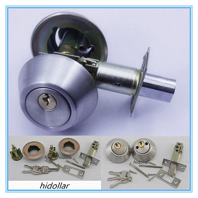 Deadbolt Round Deadlock Double Cylinder Brushed Stainless Finish Dead Lock