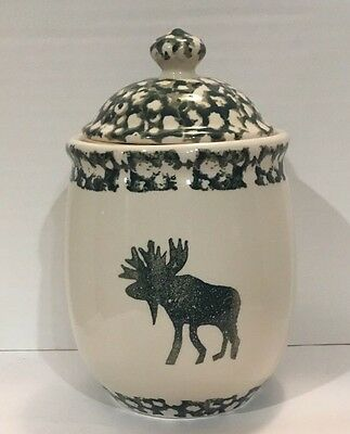 Moose Country Small Canister Stoneware Tienshan Folkcraft White Green Sponge