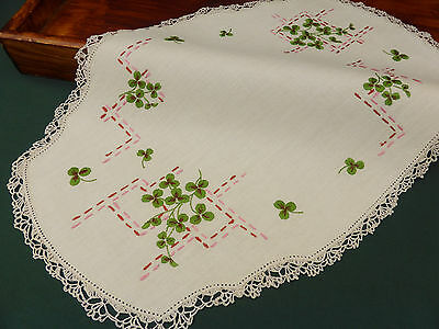 Vintage Irish Linen Traycloth-Hand Embroidered Shamrocks-Crochet