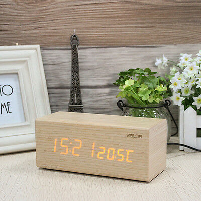 Baldr LED REAL WOOD Alarm Clocks Dimmable Touch Snooze Temperature Calendar