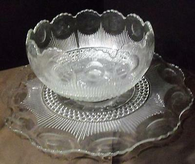 """1920""""s Manhattan Clear Depresion by US Glass ~ 14"""" Punch Bowl & 22"""" Torte Plate"""