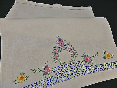 Antique Irish Linen Quest Towel-Hand Embroidered Clumped French Knot Florals
