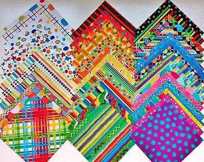 36 BRIGHT Kids Novelty Quilt Patchwork Fabric Squares MULTI-COLOURED