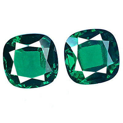 PAIR OF 2 SQUARE CUSHION FACET 4.75 ct COLOMBIAN GREEN EMERALD BIRON LAB CREATED